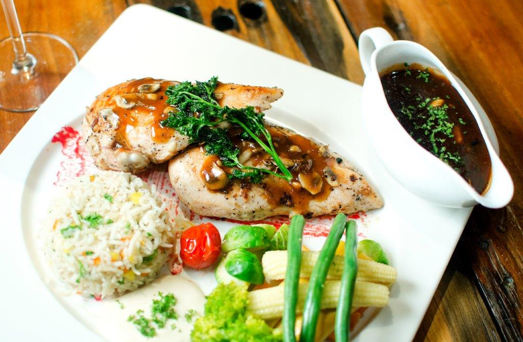 Grilled Rosemary Chicken with Mushroom Sauce