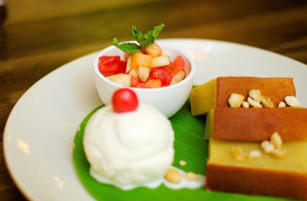 Mung Bean Cake with Vanilla Ice Cream