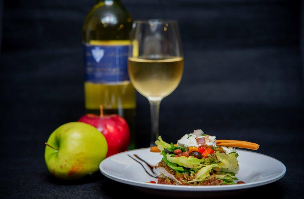 Warm Apple Salad paired with Chenin Blanc White Wine