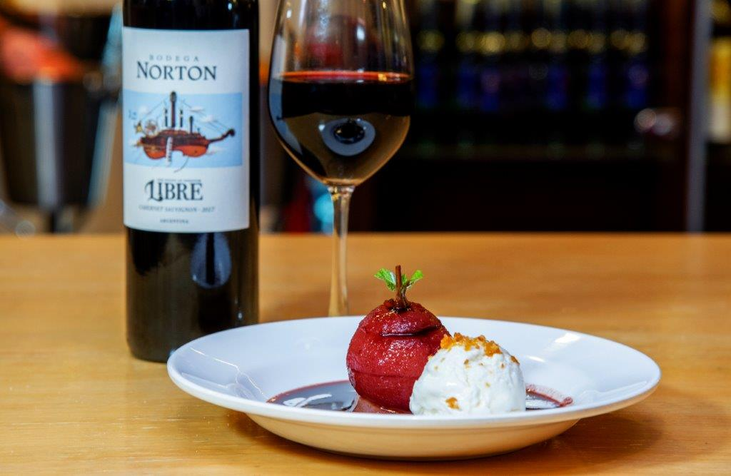 Drunken Pears paired with Bodega Norton Libre Malbec Red Wine