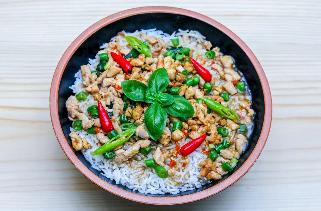 Chicken & Vegetable Krapaw Bowl